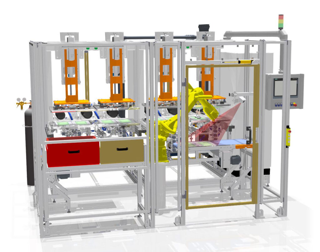 3D rendering of the front view of the automated version of the machine