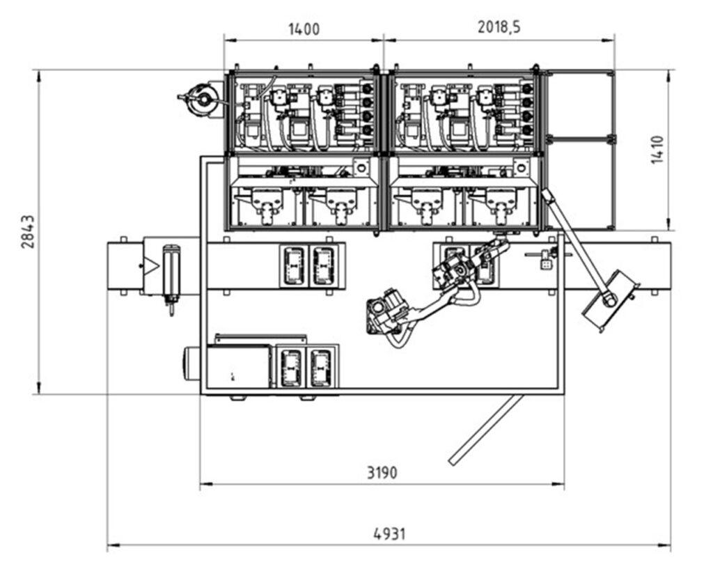 Technische Zeichnung mit angaben zum Platzbedarf