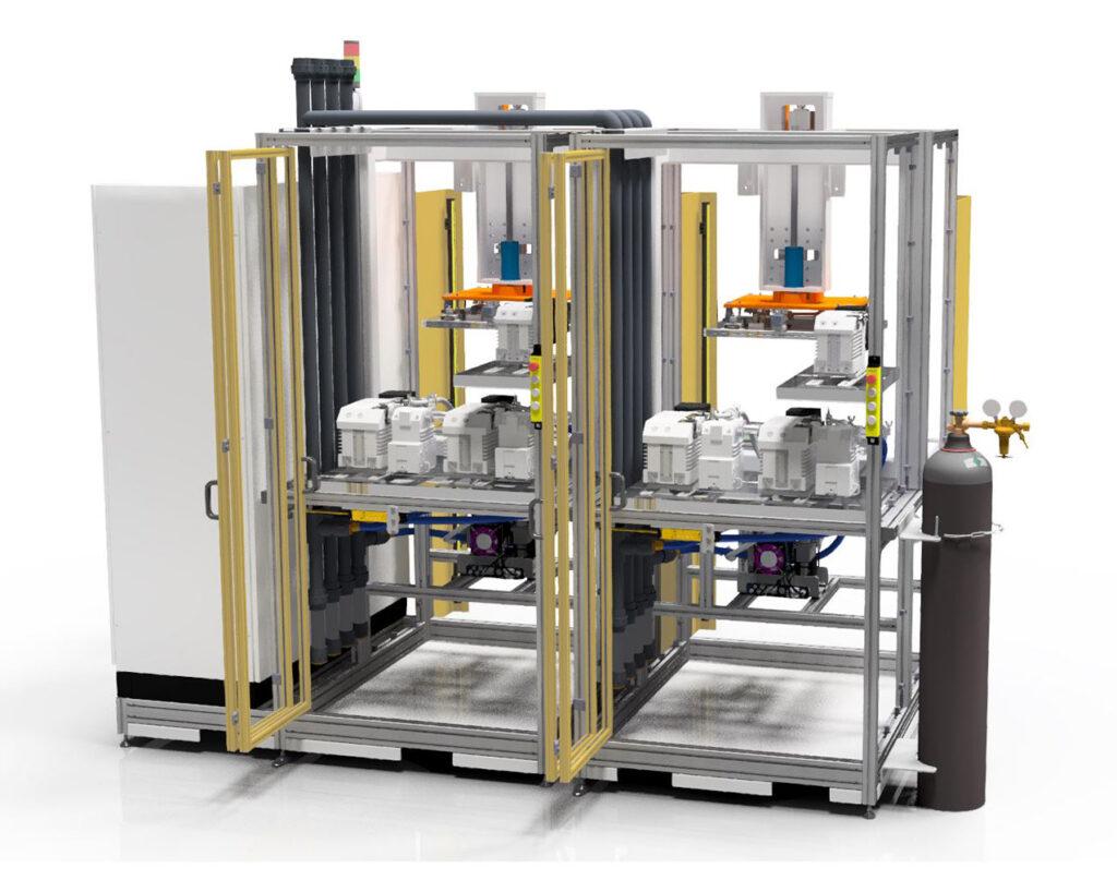 Vorderansicht vom Pumpenstand und Massenspektrometer